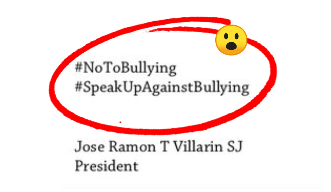 Is including a #NoToBullying hashtag in the Ateneo's decision statement appropriate?