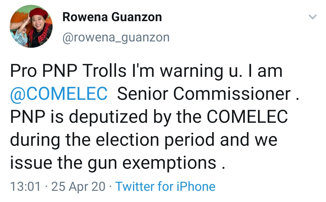Pro PNP Trolls I'm warning u. I am @COMELEC  Senior Commissioner . PNP is deputized by the COMELEC during the election period and we issue the gun exemptions.