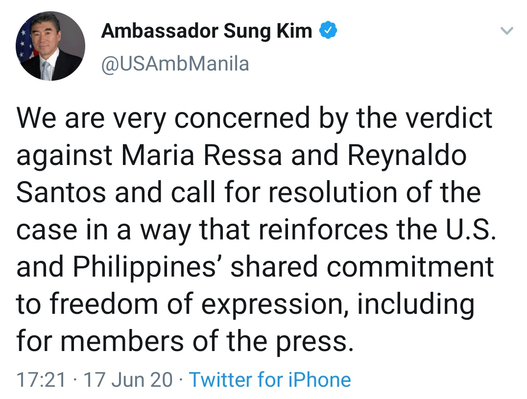 We are very concerned by the verdict against Maria Ressa and Reynaldo Santos and call for resolution of the case in a way that reinforces the U.S. and Philippines' shared commitment to freedom of expression, including for members of the press.