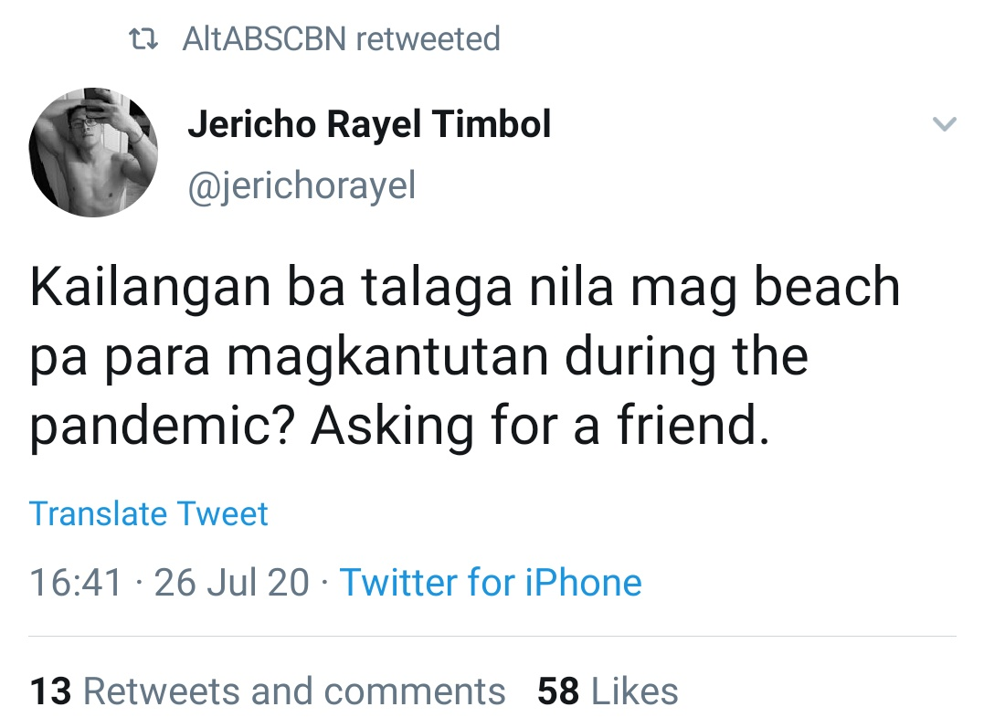 Kailangan ba talaga nila mag beach pa para magkantutan during the pandemic? Asking for a friend.