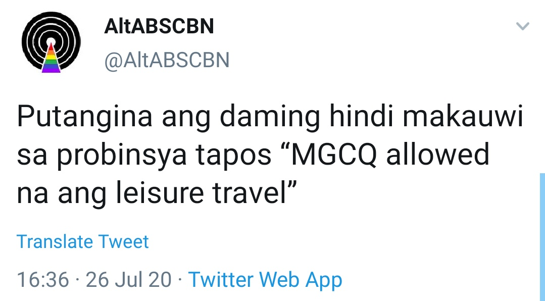 Putangina ang daming hindi makauwi sa probinsya tapos 'MGCQ allowed na ang leisure travel'