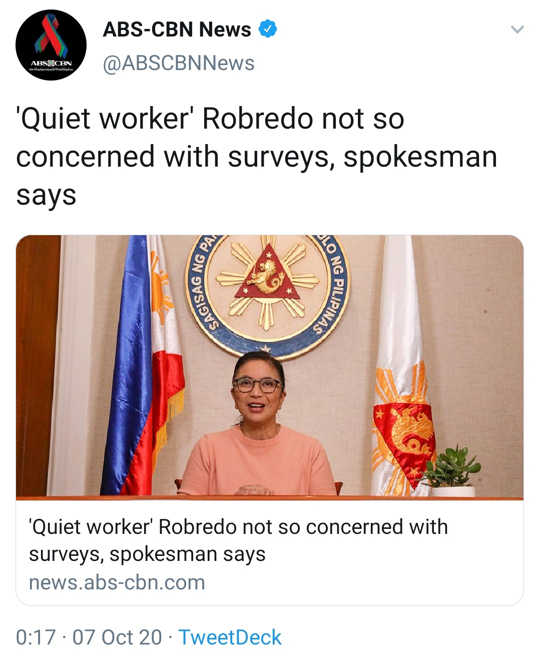 'Quiet worker' Robredo not so concerned with surveys, spokesman says