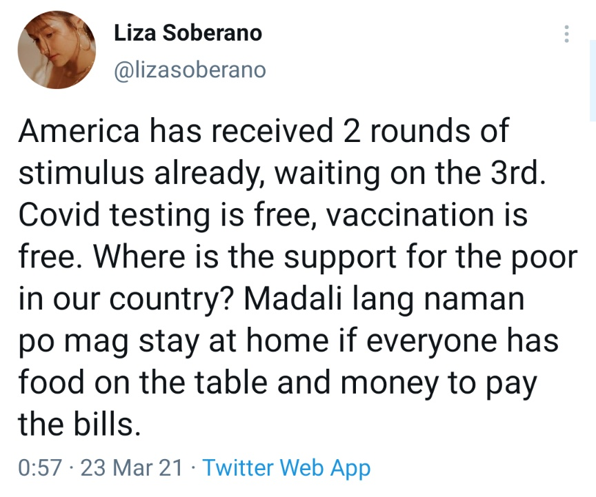 America has received 2 rounds of stimulus already, waiting on the 3rd. Covid testing is free, vaccination is free. Where is the support for the poor in our country? Madali lang naman po mag stay at home if everyone has food on the table and money to pay the bills.