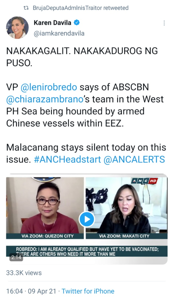 NAKAKAGALIT. NAKAKADUROG NG PUSO. VP @lenirobredo says of ABSCBN @chiarazambrano's team in the West PH Sea being hounded by armed Chinese vessels within EEZ. Malacanang stays silent today on this issue. #ANCHeadstart @ANCALERTS