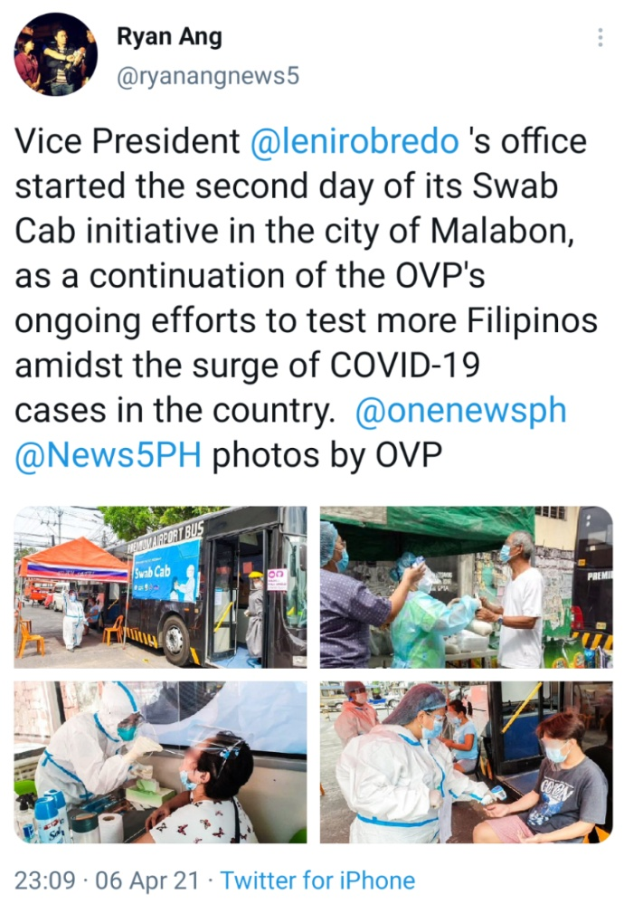 Vice President @lenirobredo 's office started the second day of its Swab Cab initiative in the city of Malabon, as a continuation of the OVP's ongoing efforts to test more Filipinos amidst the surge of COVID-19 cases in the country. @onenewsph @News5PH photos by OVP